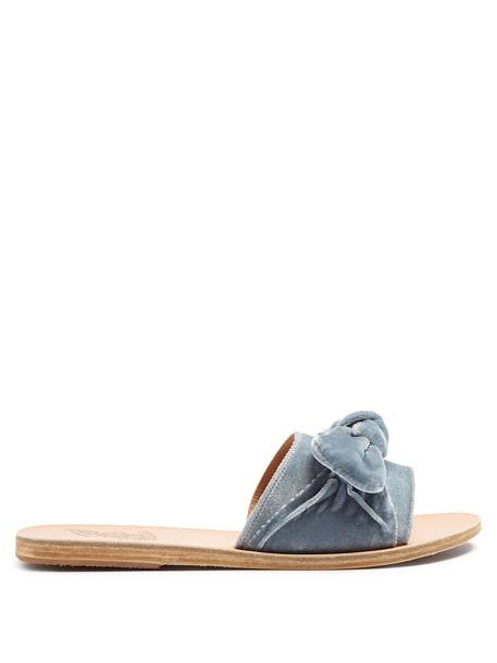 Ancient Greek Sandals bow embellished leather velvet light blue light blue shoes