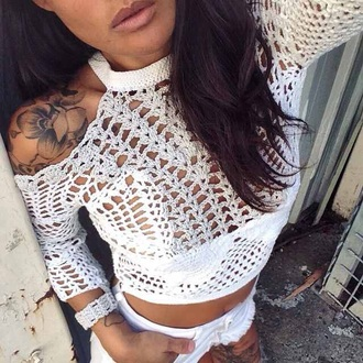 blouse white crop tops white white shirt