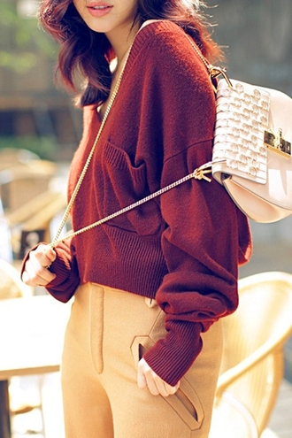 sweater red fall outfits cozy warm fashion style casual winter outfits