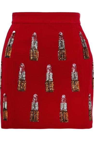 Embellished velvet mini skirt