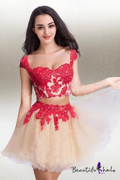 piece A-line/Princess Cap Straps Short/Mini Sweet 16 Dress