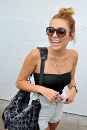 shorts,miley cyrus,sunglasses,hair,bag,jewels,necklace,shirt,celebrity,cute,smile,jacket