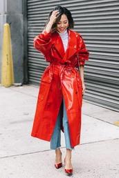 coat,trench coat,red coat,vinyl coat,blue jeans,pumps,red pumps,vinyl,jeans,denim