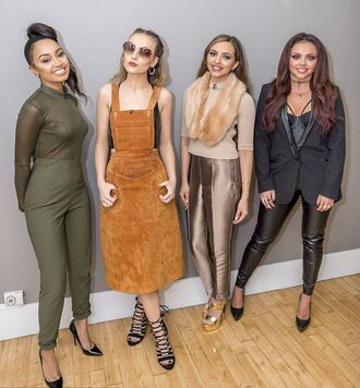 jumpsuit olive green see through leigh-anne pinnock little mix perrie edwards jade thirlwall jesy nelson pumps skirt midi skirt pants top fall outfits