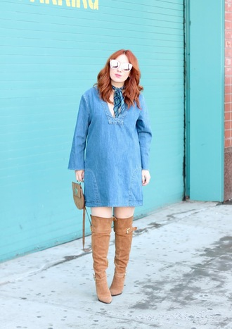 tf diaries blogger dress sunglasses shoes bag mini dress blue dress denim dress thigh-high boots brown boots spring outfits