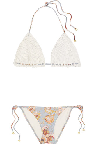 bikini floral cotton print white off-white swimwear