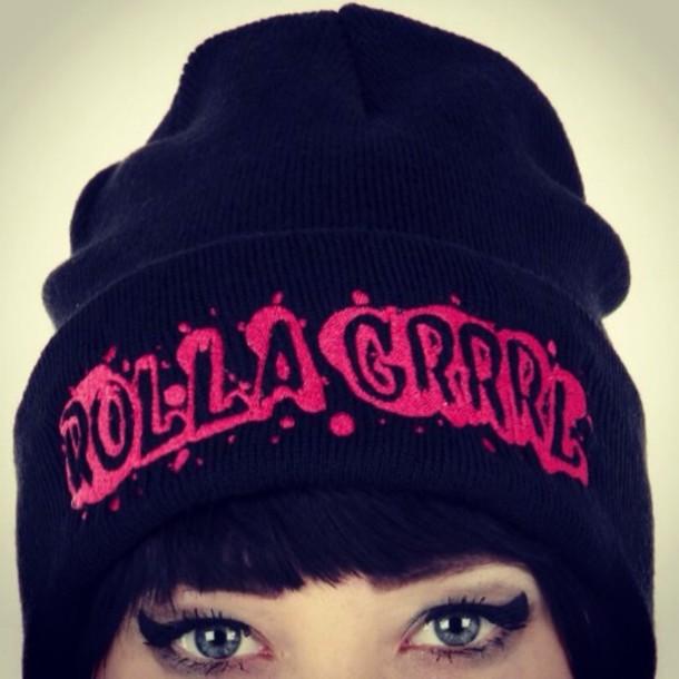 0606452ea48 hat roller skates black beanie beanie punk rock punk alt fashion pink and  black pink apparel