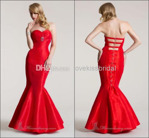 Discount Popular Design Fascinating Red Mermaid Prom Dresses Sweetheart Ruffle Backless Floor-Length Cheap Evening Dress Custom Made Pageant Gown Online with $131.73/Piece | DHgate