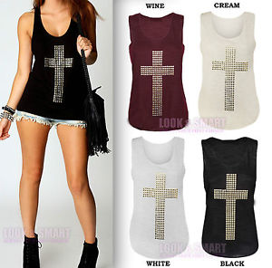 NEW WOMENS SLEEVELESS GOLD STUDDED CROSS T-SHIRT STRETCH TANK VEST TOP SIZE 8-14 | eBay