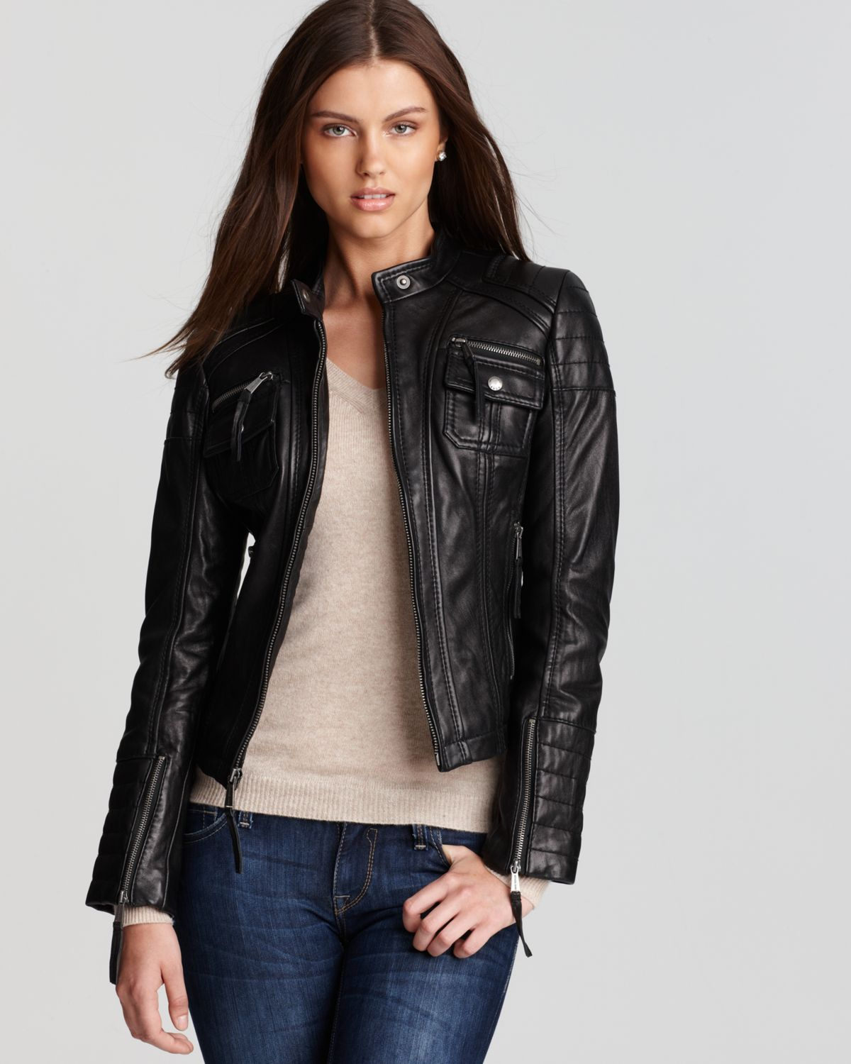 KORS Michael Kors Zip Detail Moto Leather Jacket | Bloomingdale's