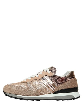 patchwork sneakers suede bronze shoes
