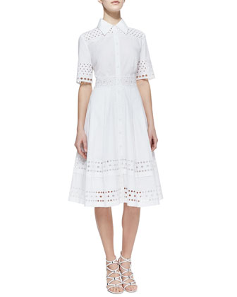 Catherine Malandrino Cutout-Trim Stretch-Cotton Shirtdress - Neiman Marcus