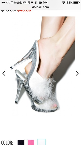 shoes clear see through stilettos heels pom poms fur