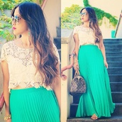 dress,mint,crop tops,crochet crop top,maxi skirt,bag,skirt,pleated,pleated skirt,maxi,blue,turquoise skirt,blue skirt,blue maxi skirt,tumblr,pinterest,lace,lace shirt,lace crop top,cream,cream lace,cream crop top,white,sunglasses,gold,gold jewelry,satchel,satchel bag,brand name satchel,brand name purse,purse,handbag,turquoise,louis vuitton
