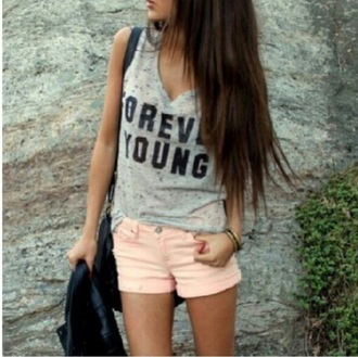 shirt forever young muscle tank grey marled summer top