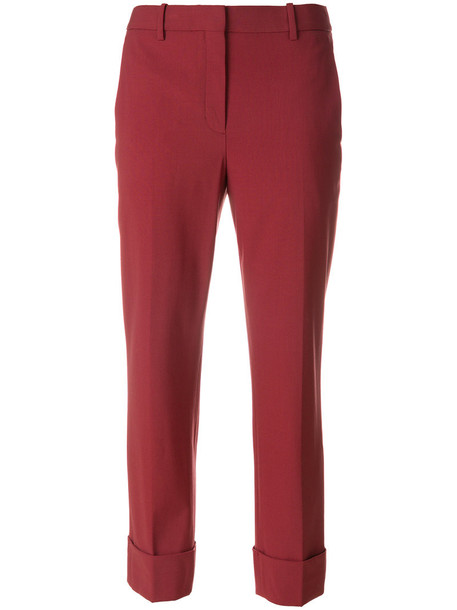 theory pants cropped pants high waisted cropped high women spandex cotton wool red