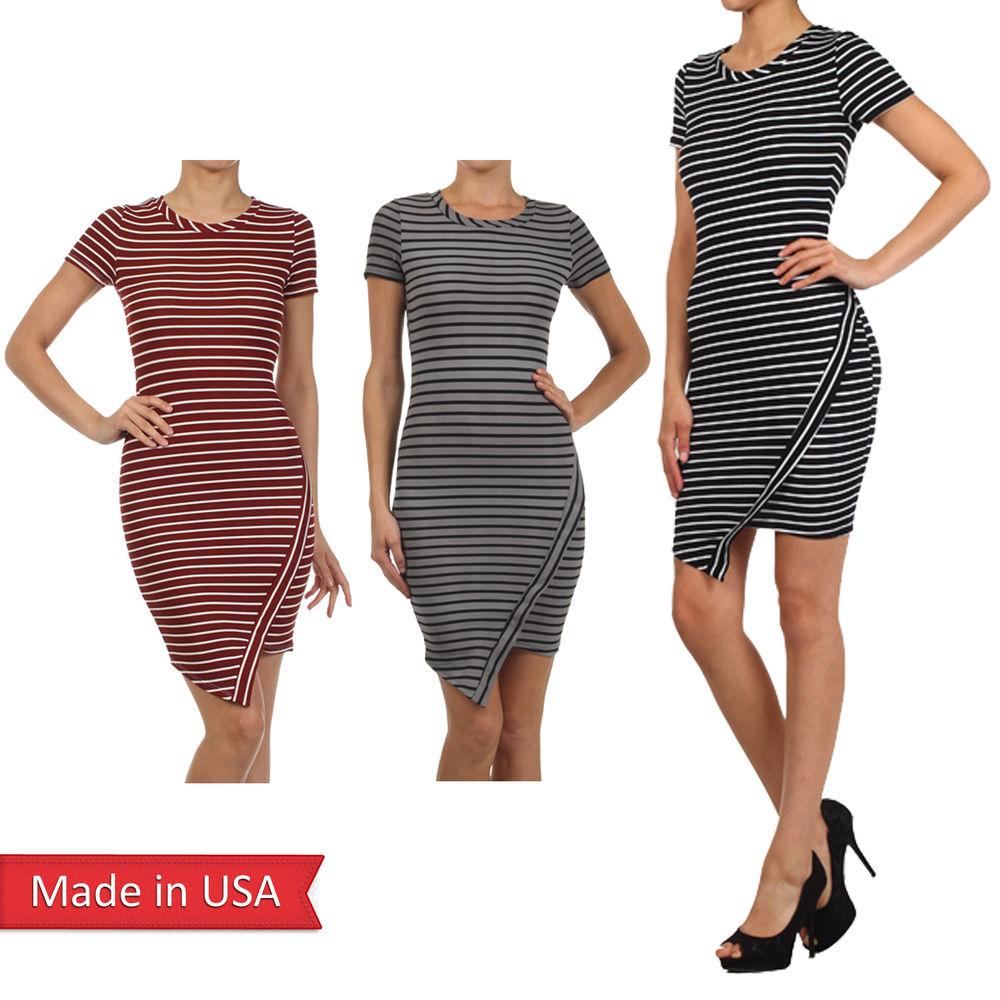 New Women Celebrity Striped Trendy Asymmetrical Hem Hi Lo Bodycon Mini Dress USA