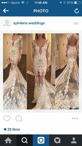 dress white long sleeve open back lace e dress