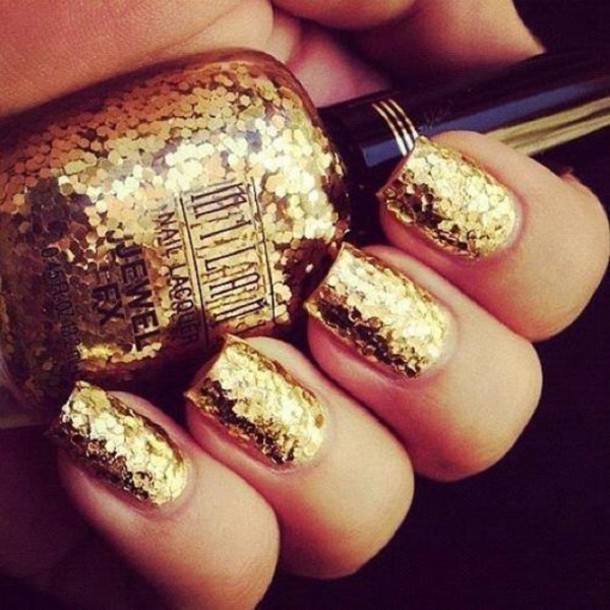 Jewels Nails Nail Art Gold Polish Glitter