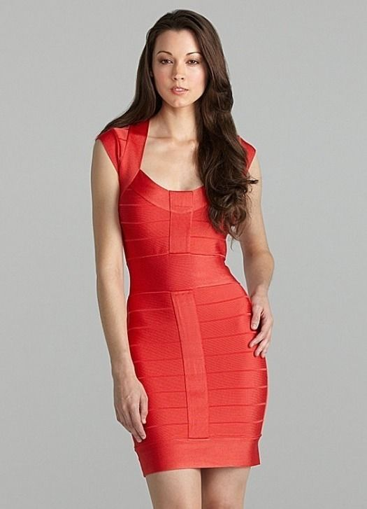 682b11c1f1e New French Connection Bandage Bodycon Ribbon Spotlight Dress Red Orange Sz  8 M | eBay