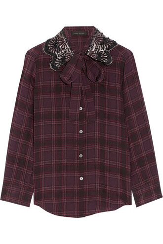 blouse bow embellished silk plum top