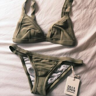 swimwear olive green bikini knit green bathing suit top two-piece summer marron summer outfits olive green swimwear army green bikini top bikini bottoms triangle bikini beach sea swimwear two piece green bikini triangle