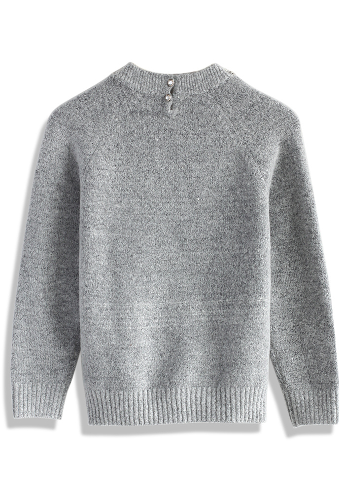 Jewelry neckline sweater in grey