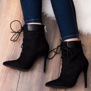 Fashion Black Suede Lace Up Boots Pointy Toe Stiletto Heel Ankle Boots