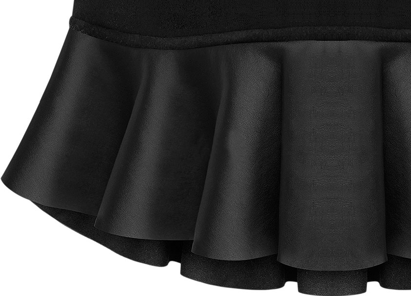 Black Contrast PU Leather Ruffle Skirt - Sheinside.com