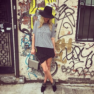 top skirt nicky hilton asymmetrical hat oversized
