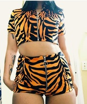 shorts,tiger,animal print,set,two-piece,tiger print,unif,o-mighty
