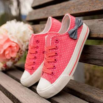 shoes sneakers pink bows dots allstars converse