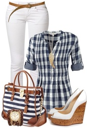 jeans,bag,shirt,shorts,blouse,shoes,belt,jewels,stripped,brown belt,white jeans,watch,striped purse,white heels,wing necklace,striped shirt,purse,cardigan,lumberjack,plaid blouse,top,blue and white,plaid shirt,t-shirt,pants