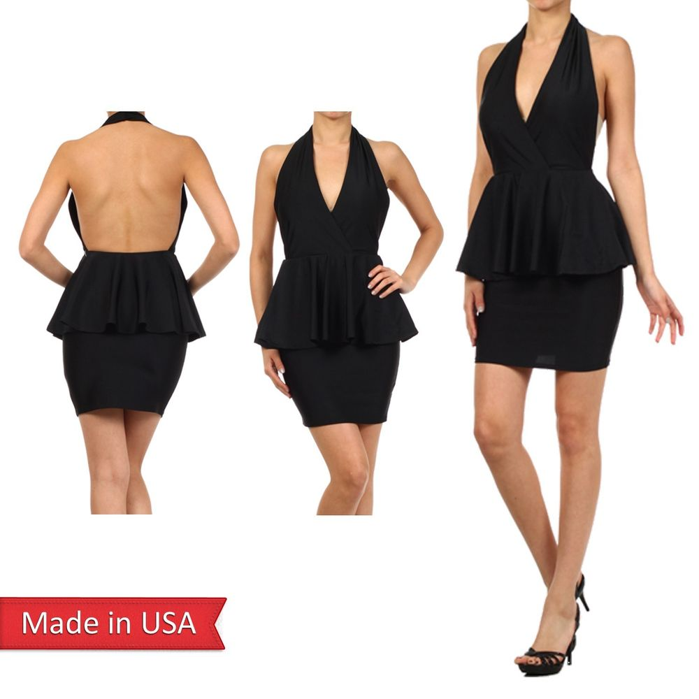 Women Fitted Halter Neck Open Back Bodycon Peplum Pencil Skirt Mini Dress USA