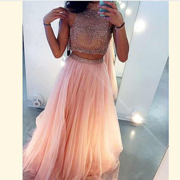 Dress Prom Two Piece Dress Set Skirt Tulle Skirt Two