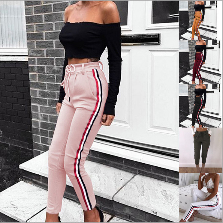 2018 Women High Waist Side Striped Trousers Ladies Active Track Pants Size 6-14