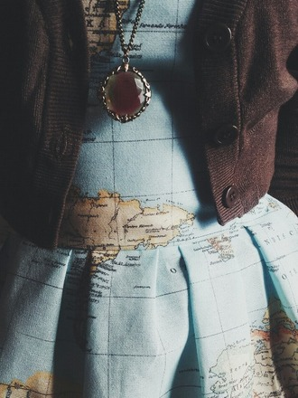 dress light blue world map printed dress