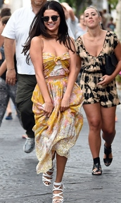 selena gomez,dress,sandals,shoes,sunglasses