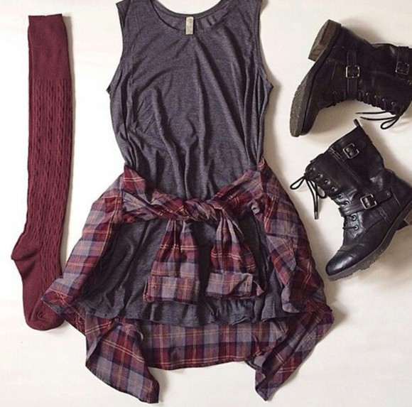 combat boots socks knee high socks plaid shirt flannel dress