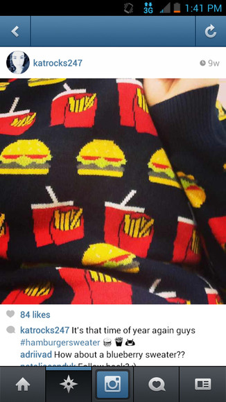sweater hamburger fries macdonalds warm winter sweater warmth burger drink black coca cola drink red