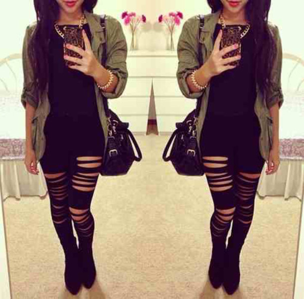 Leggings Casual Black Black Jeans Ripped Jeans Fashion Trendy Army Green Tumblr Tumblr ...