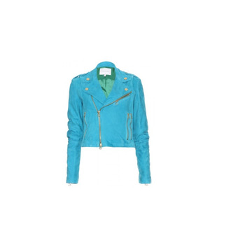 jacket blue leather modern hipster swag zip faux biker jacket