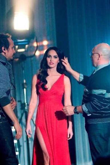 dress megan fox formal formal dress long dress slit red dress red sexy
