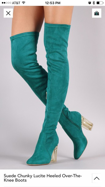 Shoes: knee high boots teal thigh high boots - Wheretoget