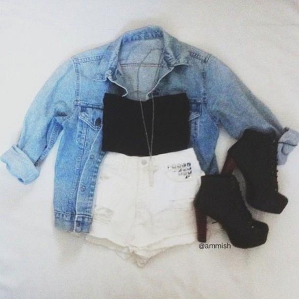 top heels crop tops shorts denim jacket shoes