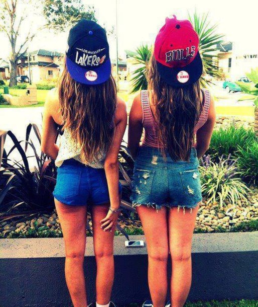 hat jeans shorts snapback red blue high waisted
