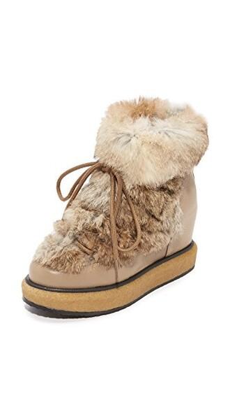wedge booties fur booties beige shoes