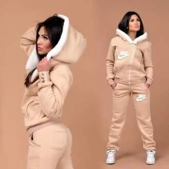 jumpsuit nude nike tracksuit tan nike sweater zip up jacket fur jacket pants sportswear sweats one