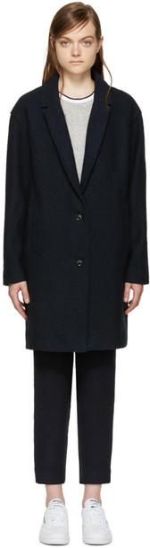 YMC coat wool coat navy wool