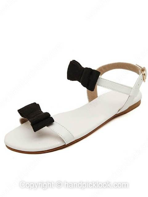 White Leatherette Flat Heel Sandals Peep Toe With Bowknot Shoes - HandpickLook.com